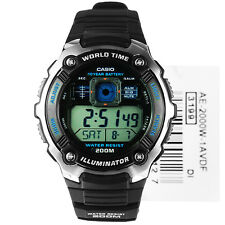New Casio AE-2000W-1A Multi Time Stopwatch World Time LED Black Resin Watch