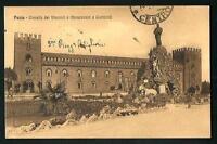 Pavia : Castello dei Visconti  e Mon. a Garibaldi -  cartolina vgt. nel 1915