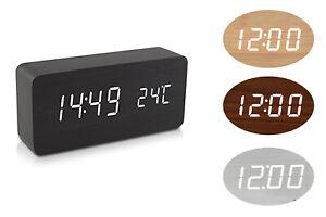 Orologio digitale legno sveglia led display temperatura data rettangolare 1299
