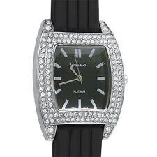 Silver Crystal Sporty Fashion Watch Black Band