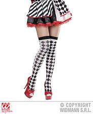 Pierrot Clown Arlequín sobre la Rodilla medias diseño de rombos Blanco Negro