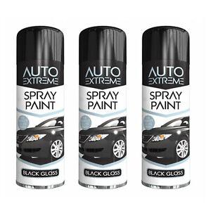 3X Black Gloss Spray Paint Aerosol Auto Car Van Bike Restore Metal 250ml