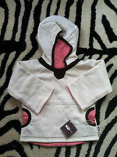 3-9 M ~ ORGANIC COTTON Hoodie Fleece Sweat BEAR HUG ME 2n1 REVERSIBLE ~ $50+ NWT