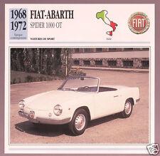 1968-1972 Fiat-Abarth Spider 1000 OT Car Photo Spec Sheet Info Stat French Card
