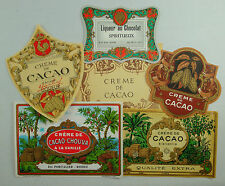 LOT CHO6 6 ETIQUETTES ORIGINALES ANCIENNES CHOCOLAT CACAO LIQUEUR CREME SIROP