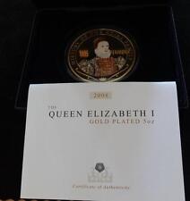 2008 GOLD PLATED PROOF 5OZ COOK ISLANDS $5 COIN BOX + COA QUEEN ELIZABETH 1