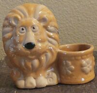 Vintage Retro Ceramic Red Glazed Lion With Flower Pot Votive Candle Holder Japan