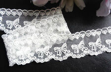 1 1/2 inch wide  mesh  white (not snow white) lace trim selling by the yard