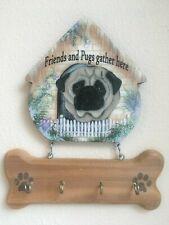 Pug key/leash rack. Wooden 2 piece-movable , New