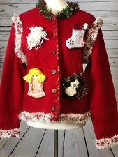 TALLY HO Ugly Christmas Sweater SMALL Cardigan Red Wool Custom Homemade Contest