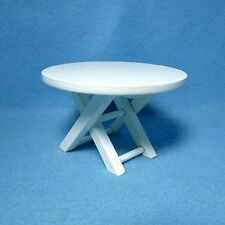 Dollhouse Miniature White Folding Table - Kitchen Dining Room Outdoors CLA10430