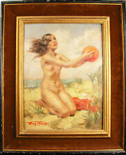 "Henri Thomas ""At beach young woman naked to the balloon Oil on panel Paint c1930"