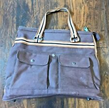 Vintage 60s Mod Hipster Brown Canvas Tote Travel Weekender Bag Purse Briefcase