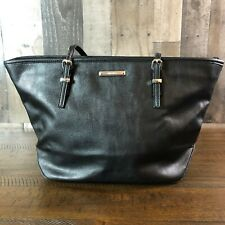 "NINE WEST Handbag Tote Large - Black Faux Leather 10""H 16""W"