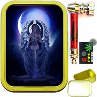 BLUE ANGEL 2oz GOLD TOBACCO TIN WITH METAL SMOKING PIPE & SCREENS