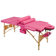 "84""L 3 Fold Portable Massage Table Tattoo Facial Spa Beauty Bed Carry Case Pink"