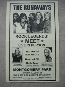 The Runaways Sandy West Cherie Currie meet & greet poster Oct 14/15 Portland OR