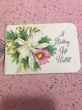 Vintage Wedding Card MCM Wallet Money Gift Orchids pink white Yellow EP