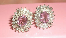 No Heat Pink Ceylon Sapphire and Full Cut Diamond 14K White Gold Earrings