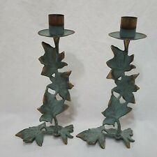"""Pair Of Grape Leaf Candle Holders Party Lite Verdigris 8"""" Metal Green Table Top"""