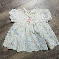 Vintage Jo Lene Frilly Baby Dress Pastel Floral Lace Size 9 Months USA Made