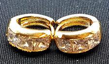 Pair  Unisex Gold Filled Huggie Clear CZ Gem Crystal Hoop Huggies Earrings UK