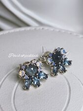 Authentic Pandora Patterns Of Frost Blue Cz & Opal Stud Earrings W/ Gift Pouch