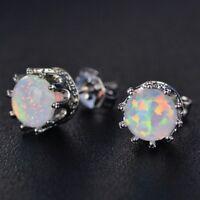 2 Ct Round Fire Opal Earring Stud Women Jewelry 14K WhiteGold Plated Nickel Free