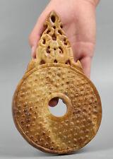 """7.9"""" Chinese Soapstone Xiu Jade Hand Carving Animal Lucky Bird Beast Yubi Statue"""
