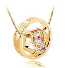 Fashion Jewelry Women Heart Mix Crystal Charm Pendant Chain Necklace Gold BT18