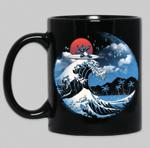Summer Beach Alien Stitch Great Wave Off Kanagawa Gift Black Coffee Mug Tea Cup