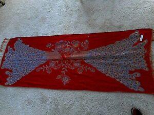 "Peacock Pashmina Shawl Scarf Wrap 27x66""  Women Red Blue Pattern"