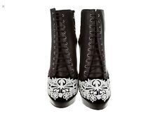 Alexander McQueen Black Leather Embroidered Lace Platform Ankle Boots. Sz 7. 37.