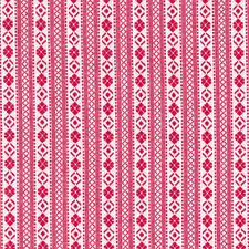 Cherry Red Woven Fairisle Stripe Fabric / Nordic folk vintage homespun Christmas