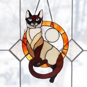 Handmade Cat Suncatcher Hanging Ornament Window Garden Hang Home Decoration