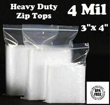 500 3 X 4 Zip Seal Top Lock Bags Clear 4 Mil Plastic Reclosable Mini Baggies