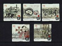 AUSTRALIA  2016...CENTENARY OF WWI.....P/S USED SET OF 5