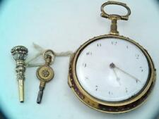 Antique English CALEB PITT Verge Fusee Pocket Watch Running Faux Tortoise Shell