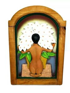 Framed Ceramic Nude With Calla Lilies Diego Rivera framed wood