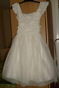 M & S GIRLS IVORY  FLOWER GIRL PARTY WEDDING FORMAL DRESS UK 8/9 YRS RP £52 NEW