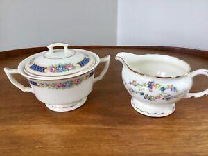 Vtg Sugar Bowl & Creamer Set MIXED MAKER SET Blue & Pink Florals Gold Trim