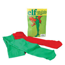 Adult Red and Green Elf Tights Jester Pixie Fancy Dress Costume Christmas Panto