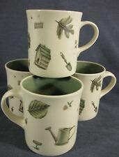 Pfaltzgraff Naturewood Coffee Mugs Lot of 4 Portfolio USA Green Inside