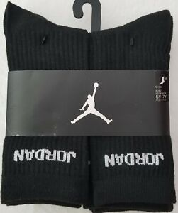 Nike Kids Air Jordan Crew Socks 6 Pack Youth Size 5Y-7Y 9-11 Black FREE SHIPPING