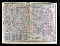 1930 Clason Auto Road Map South Dakota Black Hills Rapid City Sioux Falls City
