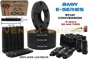 E90 E91 E93 Black BMW 17mm & 30mm Wheel Spacers + Racing Stud Conversion 12x1.5