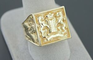 Lions Facing 10 Commandments, Moses and King David 14k Gold Judaica Men's Ring