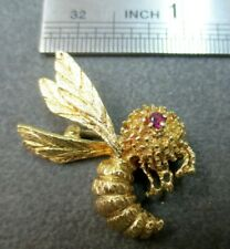Vtg 14K Solid Gold Ruby Eye Bee Brooch Pin Flying Insect 6.05 G