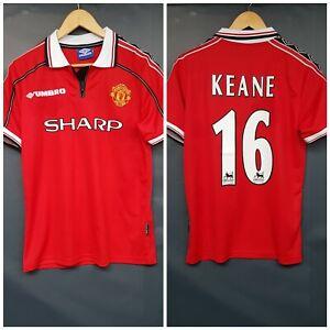 KEANE 16 Manchester United 1998/99 Retro Home Shirt Treble 1999 S New