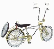 "20"" Lowrider Bicycle Chrome-Gold 72 spokes Bent Fork w16"" wheel Continental Kit"